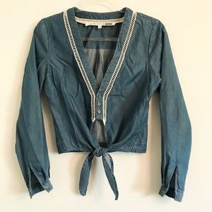 Lovers & Friends Carmine chambray tie front top M